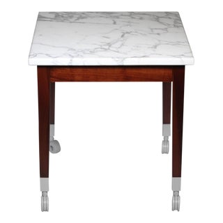 "Philipe Stark for Driade ""Neoz"" Carrara Marble/Mahogany Side Table"