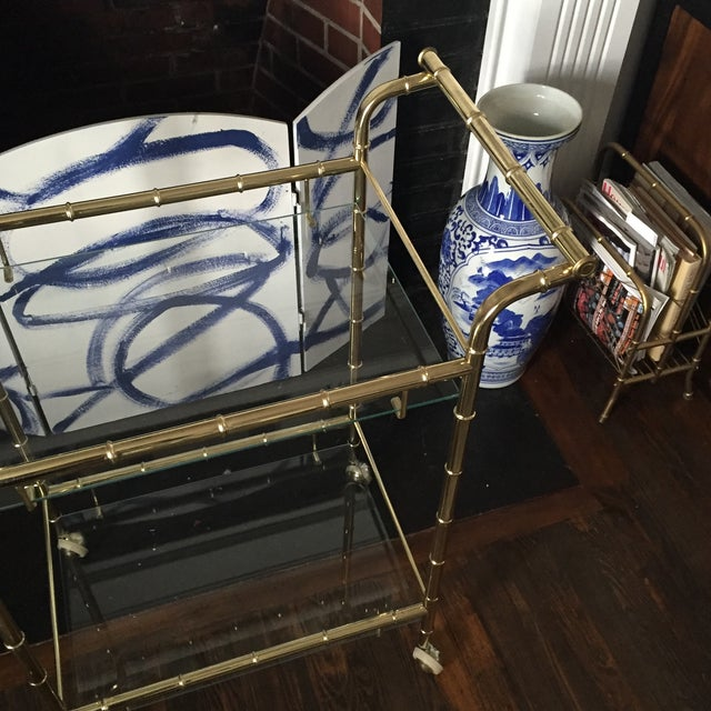 Hollywood Regency Brass Faux Bamboo & Glass Rolling Bar Cart - Image 10 of 11