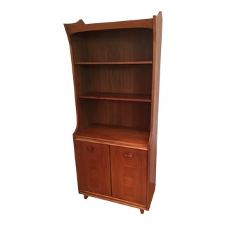 Mid-Century Modern Sloping Curves & Inlaid Wood Bookcase/Credenza