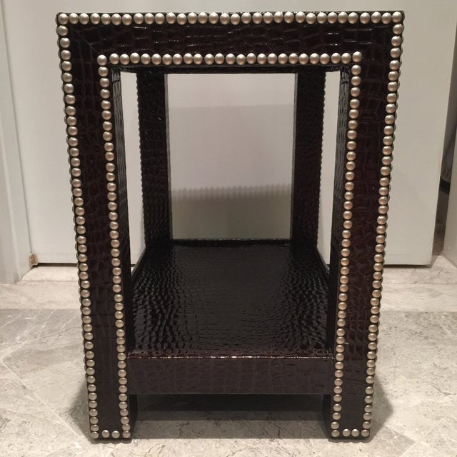 Image of Crocodile-Embossed Leather Side Table