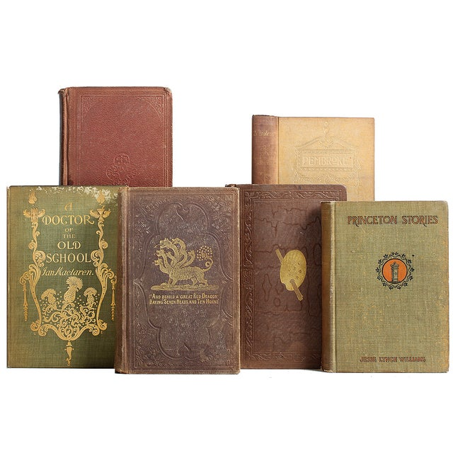 Image of Distressed Antique Tan Library - Set of 20