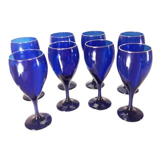 Vintage Cobalt Blue & Gold Stemware - Set of 8