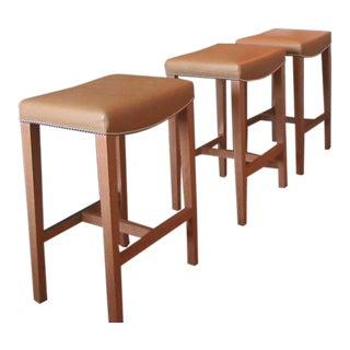Custom Holly Hunt Leather Barstools - Set of 3