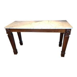 Carved Rosewood Console With White Marble Top