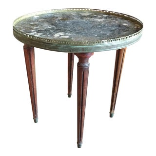 Antique French Marble Top Bouillotte Side Table