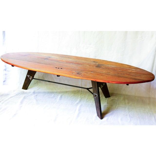 Mid-Century Reclaimed Wood Surfboard Coffee Table - Image 2 of 11