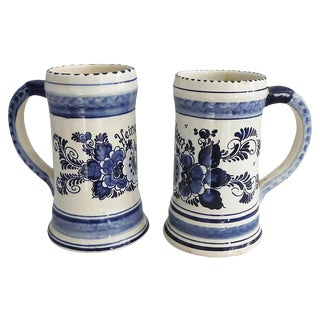 Pair of Vintage Delf Blue & White Steins