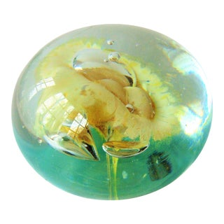 Vintage Hand Blown Yellow Plume Art Glass Paperweight
