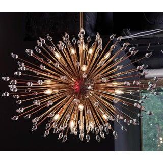 Impressive Brass Sputnik Chandelier with Murano Glass Teardrops