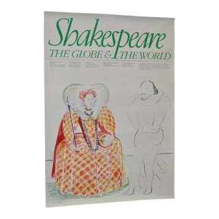 """Shakespeare: The Globe & The World"" Exhibition Poster by David Hockney Circa 1979"