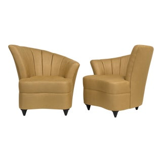 A Pair of Shell Shaped Linen Upholstered Armchairs 1980s