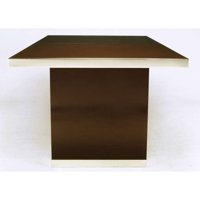 Pierre Cardin Chrome & Dark Chocolate Brown Dining Table - Image 5 of 7