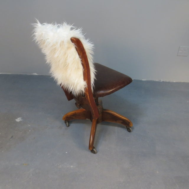 Art Deco Office Chair With Fur Back - Image 4 of 5