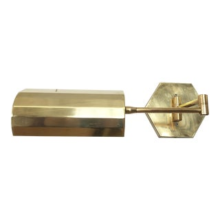 Articulating Brass Swing-Arm Wall Lamp with Faceted Shade