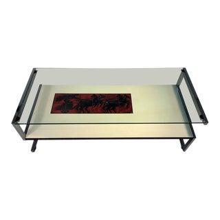 Italian Modernist Tile & Laminate Chrome Frame Coffee Table