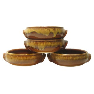 Vintage French Terra Cotta Casseroles, Set of 4