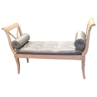 Distressed White Wood Frame Settee