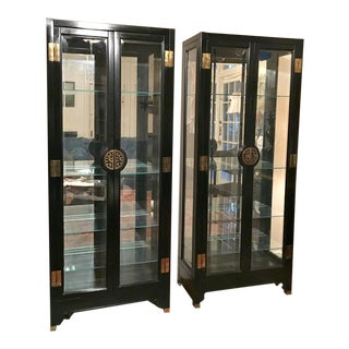 American of Martinsville Asian Style Black Lacquered China Cabinets - Pair