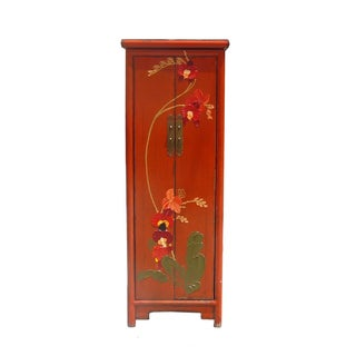 Chinese Orange Thick Oil Flower Narrow Cabinet