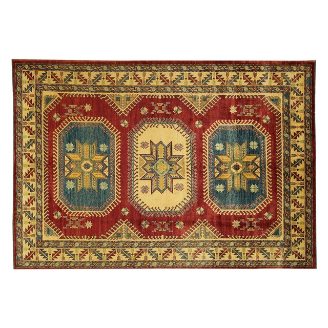 Image of Super Kazak Geometric Rug Red - 7' x 10'