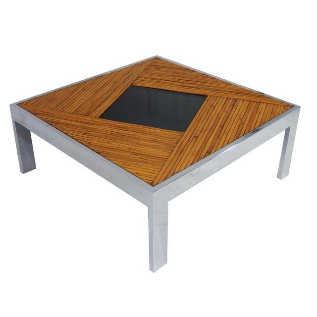 Mid-Century Milo Baughman Bamboo & Chrome Coffee Table