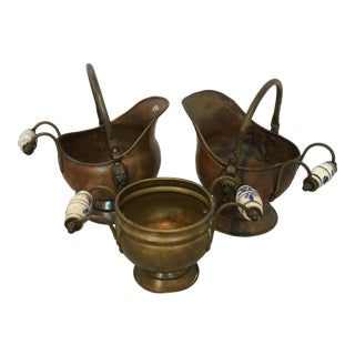 Delft Brass and Copper Hearth Scuttles - Set of 3