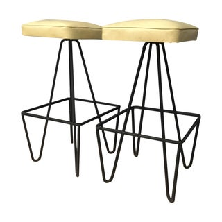 Weinberg Upholstered Cast Iron Bar Stools - A Pair