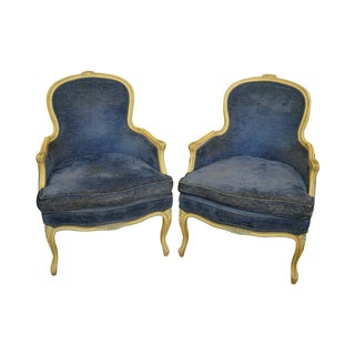 Vintage Louis XV Style Bergere Chairs - Pair