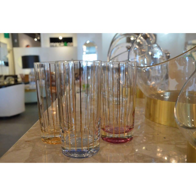 Image of Set of Eight Mid-Century Gold Stripe Tom Collins Glasses with Brass Caddy