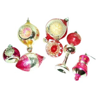 Vintage Pink Glass Christmas Ornaments - Set of 7