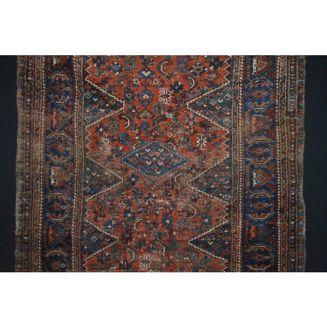 "Distressed Antique Persian Tribal Rug - 3'7"" X 4'9"" - Image 4 of 9"
