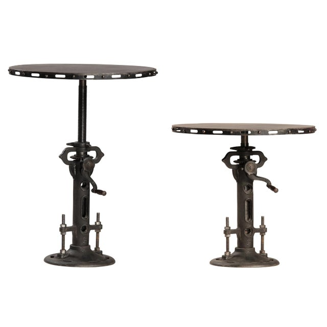 Iron Crank Adjustable Round Dining Table