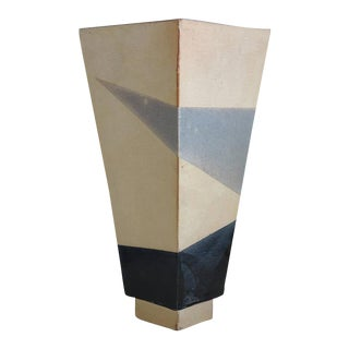 1980s Memphis Style Grey Black and Buff Colored Stoneware Clay Pottery Cubist Ceramic Vase