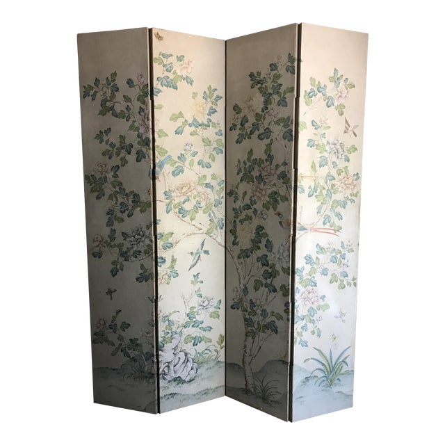 Gracie Chinoiserie 4 Panel Wallpaper Screen - Image 1 of 11