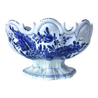 Italian Faience Blue & White Centerpiece Bowl