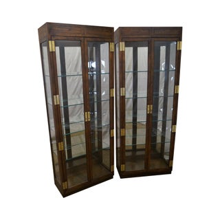 Henredon Lighted Curio Display Cabinets - A Pair