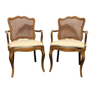 DAVIS CABINET Co Fleming Walnut French Provincial Cane Dining Captain's Arm Chairs - Pair