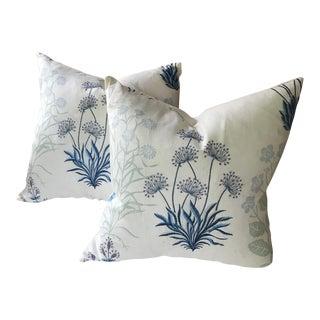 Designer Embroidered Linen Pillows - a Pair