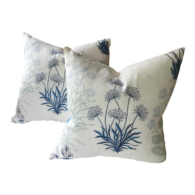Designer Embroidered Linen Pillows - a Pair - Image 1 of 7