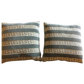 Lee Jofa Greek Key Velvet Pillows - A Pair