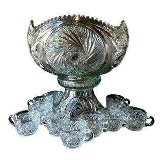 1920s McKee Aztec Cut Glass Punch Bowl Set - 24 Pcs.