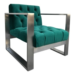 Modern Dark Green & Silver Lounge Chair