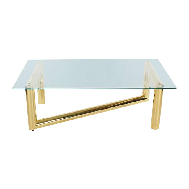 Pace Style Brass Tubular Coffee Table - Image 1 of 5