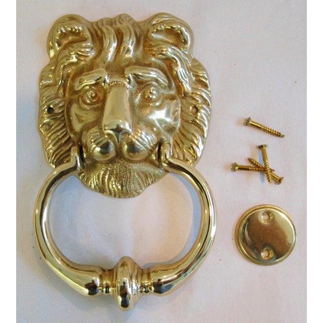 Vintage Brass Lion Door Knocker with Strike Button - Image 2 of 3