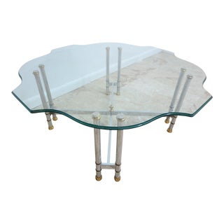 Vintage Mid-Century French Regency Chrome Brass X Base Coffee Table