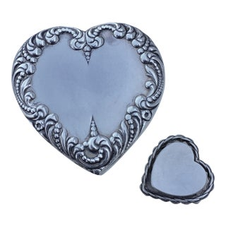 Sterling and Cut Glass Heart Box Containing Heart Brooch