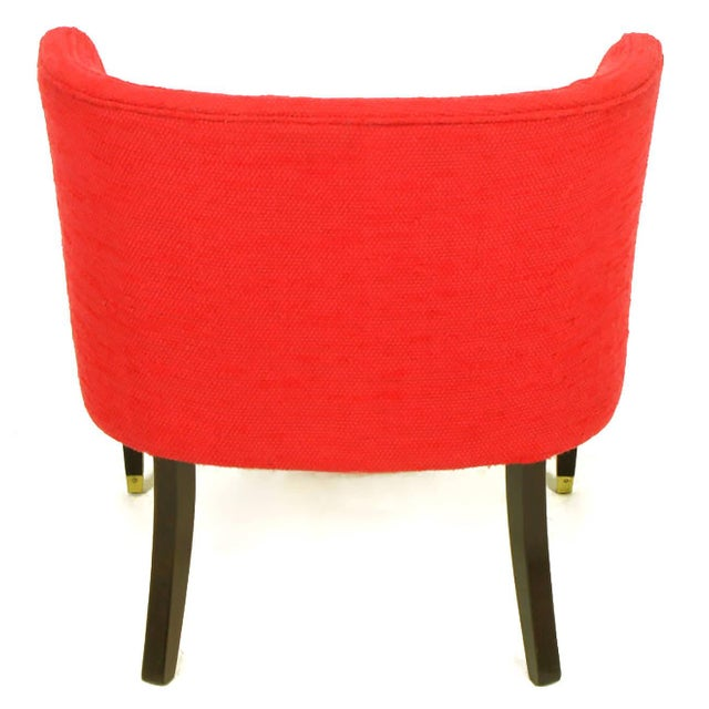 Pair of Button Tufted Red Wool and Dark Walnut Pull Up Wing Chairs - Image 7 of 10