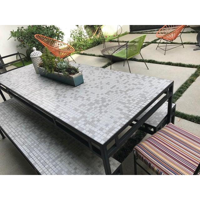 Iron & Mosaic Tile Dining Set - Set of 5 - Image 5 of 11