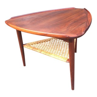 Danish Modern Teak & Cane Side Table
