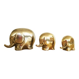 Mid-Century Brass Elephant Family - Set of 3